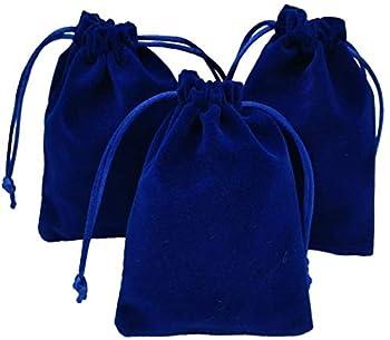 KUPOO 50 Pieces Wholesale Lot - Royal Blue Velvet Cloth Jewelry Pouches / Drawstring Bags 3  X 4