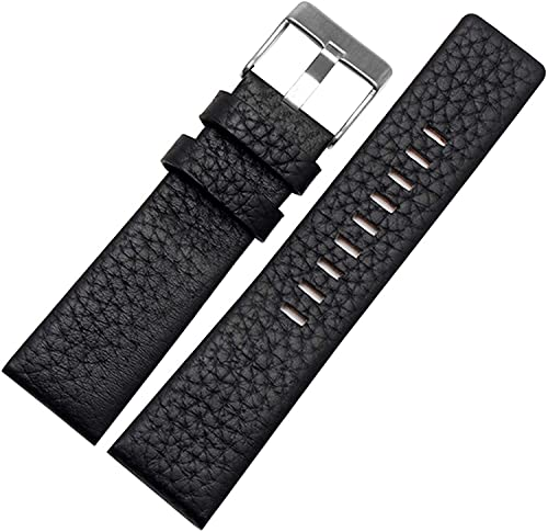 PINGZG Reloj de Cuero 22mm / 24mm / 26mm / 28mm / 30mm Men's Strap Watch Reloj de reemplazo de la Correa de reemplazo Accesorios, cómodo Transpirable (Color : Black Silver Buckle, Size : 24mm)