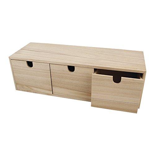 Rayher 6190300 Holzkommode mit 3 Schubladen, natur, 37,5 x 13 x 11,5 cm, Holz Kommödchen, Schubladenbox