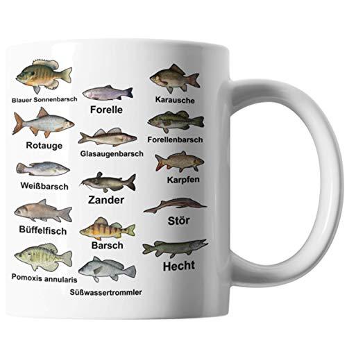 Bürotasse Angler Geschenkidee   Fischarten Fischer Tasse Für Männer & Frauen   Fischen Hobbie Geschenk