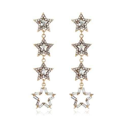 Ruda - Pendientes largos de metal con diseño de estrella pentagonal, para mujer y niña, regalo de Navidad