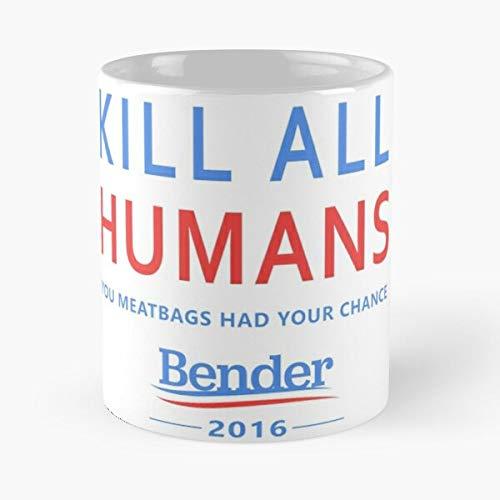 Robot Bender Election Futurama Sanders Bernie Presedential Best Taza de café de cerámica de 315 ml Eat Food Bite John Best Taza de café de cerámica de 315 ml