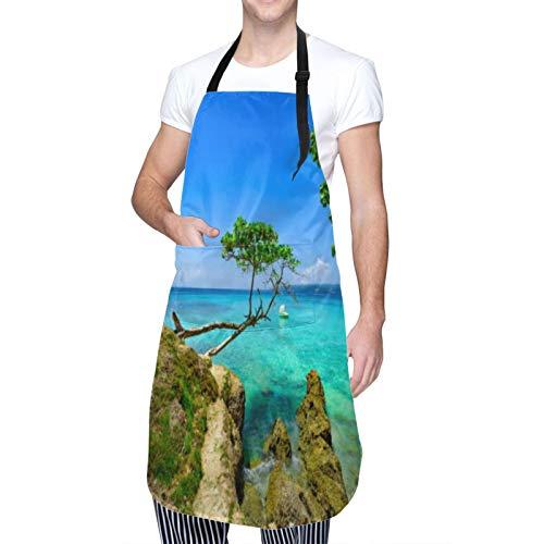LiBei Delantal de Cocina Impermeable con Bolsillos,Palm Ocean Sky,Ajustable Delantales Hombre Mujer Mandil Cocina para Jardinería Restaurante Barbacoa Cocinar Hornear