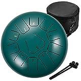 amkoskr 12 pollici 30 cm tamburo in acciaio a 11 note steel tongue drum strumento a percussione tamburo handpan con bacchette per tamburi borsa per il trasporto(verde)