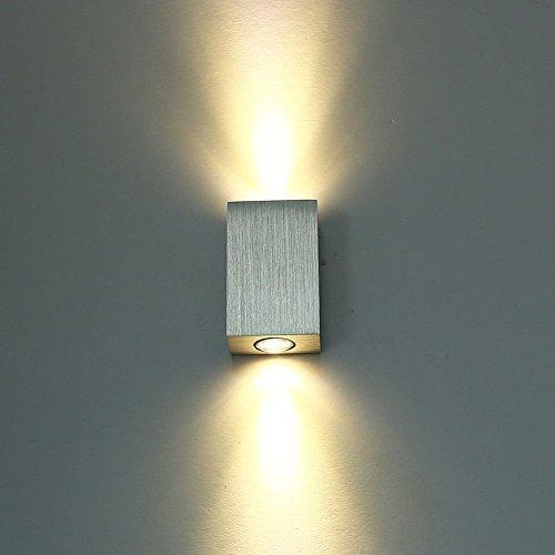 SISVIV 6W LED Applique da Parete Interno Moderno Lampada da Parete Alluminio Lampada da Muro per Decorazione Camera da Letto Soggiorno Corridoio Scale Argento