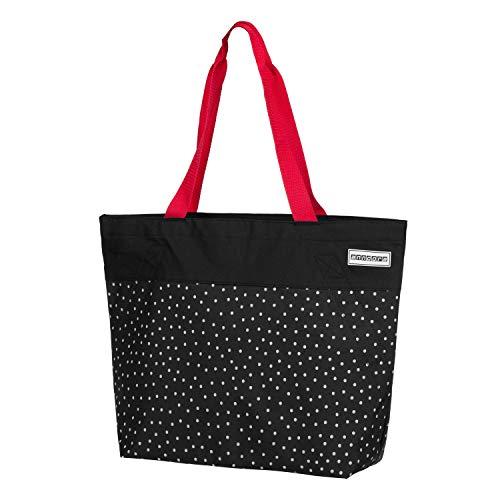 anndora Shopper 17 Liter Damen Handtasche Schultertasche schwarz weiß gepunktet