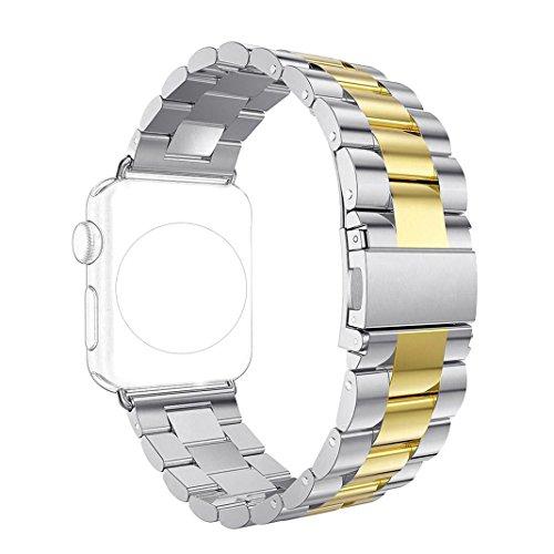 Bracelet pour Apple Watch 42MM, Rosa Schleife iWatch eplacement de Smart Watch Band avec Métal Fermoir Watch Strap Wristband pour iWatch 42mm (Compatible avec 2016 Nouvel Watch Series 2) - Argent & Or