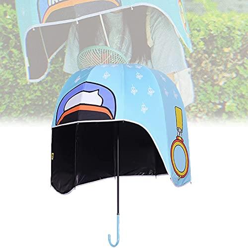 LJSF Paraguas de Golf Resistente al Viento, Paraguas Casco a Prueba de Viento en Forma de Cúpula, Paraguas Sombrero, Unisex, Impermeable,Azul,S