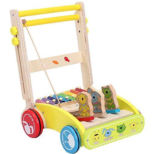 0-2 Ans Bébé Multifonctionnel en Bois Trolley Marcheur Puzzle Enfant Aggravation Rollover Musique Frapper Au Piano Jouet