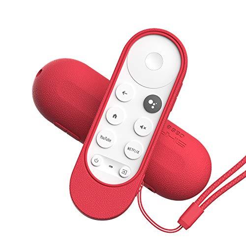 MOSHOU Guscio Custodia Protettiva Compatibile con Google Chromecast 2020 Voce Telecomando, Anti-Scivolo Antiurto Copertura di Siliconica Cassa, Anti-Graffio Adatta Protegge Progettato (Rosso)