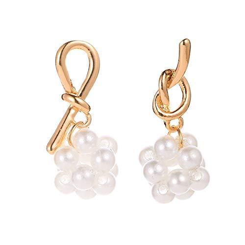 Family Needs Pearl Stud Oorbellen Matte gouden oorbellen Temperament asymmetrische oorbellen Kleine Wise Ear Ornamenten (Color : Gold)