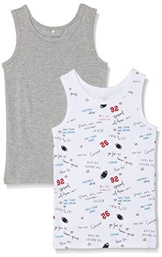 NAME IT Jungen NKMTANK TOP 2P 1 NOOS Unterhemd, Mehrfarbig (Grey Melange), 122 (Herstellergröße: 122-128) (2er Pack)
