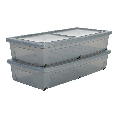 Amazon Basics, Juego de 2 Cajas de Almacenamiento Debajo de la Cama, 35 L, con Ruedas, Transparente, Dormitorio - Modular Clear Underbed Mcb-Ub - Gris
