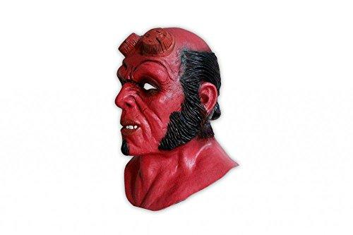 shoperama Hochwertige Latex-Maske Hellboy Kostüm-Zubehör Halloween Teufel