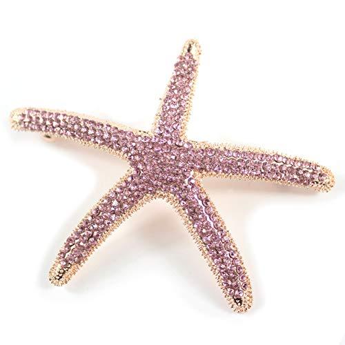 Crystal Rhinestone Starfish Hair Clip Handmade Hair Barrettes Sea Star Hair Clip Beach Hairpin Hair Accessories for Women (Pink Crystal)