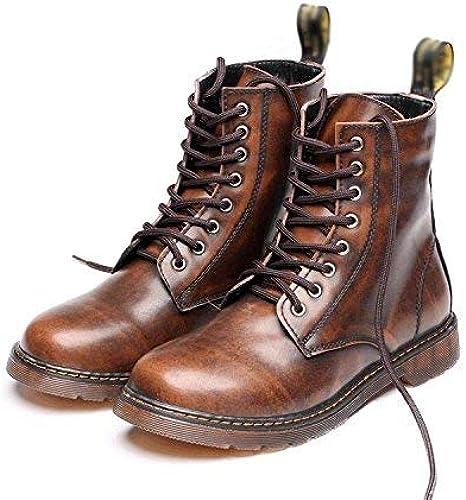Oudan Martin botas de Alta Gama de zapatos de Encaje cómodo de Cuero Suave Alta de los hombres, 45 (Color   -, tamaño   -)
