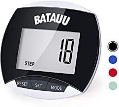 BATAUU Best Pedometer, Simply Operation Walking Running Pedometer with Calories Burned and Steps Counting (Black)
