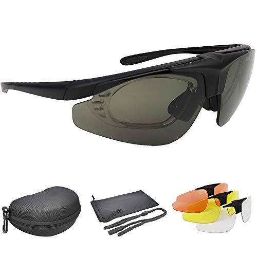 Shooting Glasses with 4 Anti Fog Lenses Outdoor Interchangeable Safety Eyewear Set Tactical Sport Glasses & Hard Case with Foam Padding Set for Hunting Shooting Cycling Hiking Driving