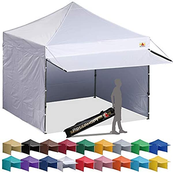 ABCCANOPY 10x10 Pop Up Canopy Tent Instant Shelter Commercial Portable Market Canopy With Full Walls Awnings Wheeled Bag Bonus 4 Weight Bag
