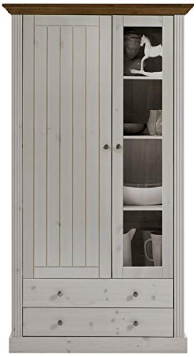 Steens Monaco Vitrine, mit Holztür und schmaler Glastür, 103 x 190 x 42 cm (B/H/T), Kiefer massiv, weiß provence