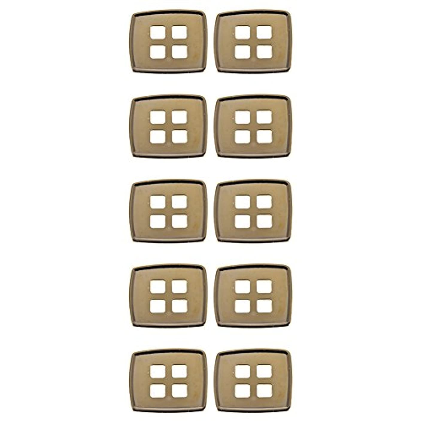 Mibo ABS Metal Plated Button Asymmetrical Square Shape with Square 4 Holes 32 Line Gold 10 Pack