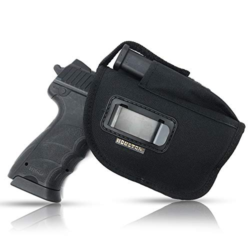 IWB and OWB Tactical Holster - Gun + Mag Pouch by Houston - with Metal Clip | Fits: M&P 9 mm, Ruger, Springfield, Sig, S&W, Taurus, Beretta, H&K with Small Laser | Lined Inside for Gun Protection