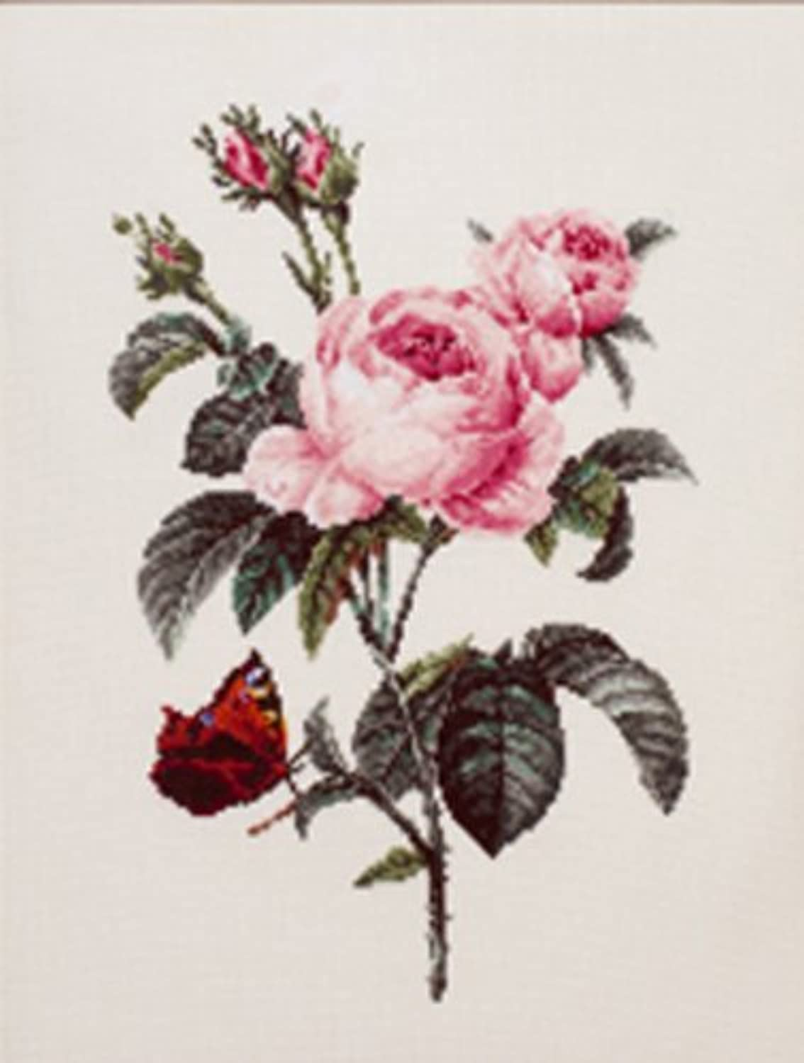 The World of beautiful flowers Redoute COSMO cross stitch kit No.801 pink Pope Folia (japan import)