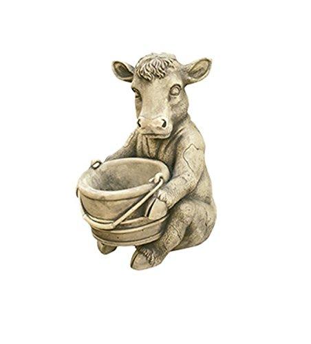 Figura Decorativa Vaca Lechera en hormigón-Piedra para el jardín Exterior 26X35cm.