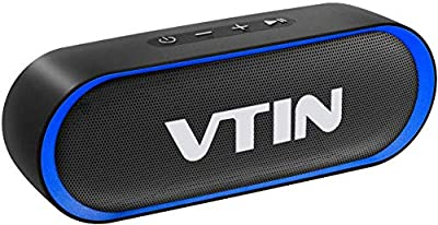 VTIN R4 Bluetooth Speaker V5.0, Portable Bluetooth Speaker with 24H Playtime, Crystal Clear Stereo Sound, 10W Powerful Waterproof Speaker, Built-in Mic, Support TF Card, Suitable for Home and Outdoor by VTIN