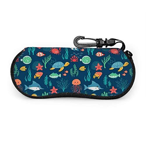 sherry-shop Étui à lunettes de soleil Ocean Fish Turtle Curage Art Travel Soft Neoprene Zipper Eyeglass Bag