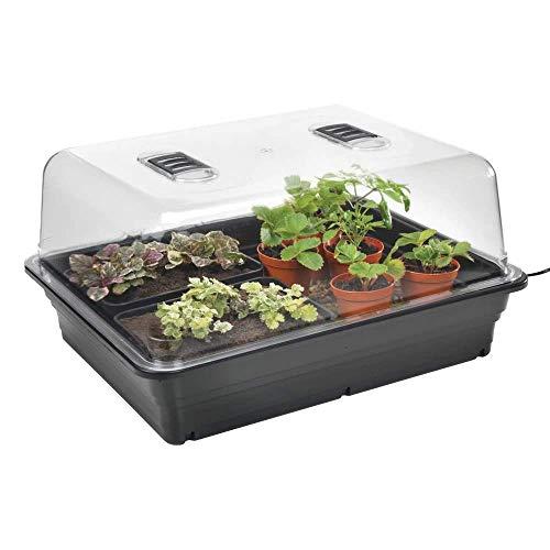 Stewart Essentials Propagateur électrique pour Jardinage (38 cm) Noir Haute qualité Premium (Couvercle en styrène Rigide Transparent, 50 W) Large - 52 cm Noir