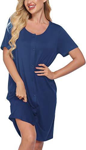 Meaneor Damen Stillnachthemd Kurzarm Geburtskleid Krankenhaus Umstandsnachthemd Stillkleid aus Baumwolle Nachthemd zum Knöpfen Geburtshemd Nachtwäsche für Schwangere und Stillzeit Blau L