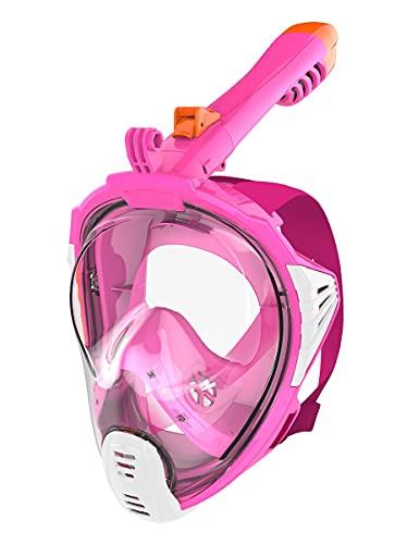 aquazon Sirius. SGS getestete Schnorchelmaske, Tauchmaske, Vollgesichtsmaske für Erwachsene und Kinder, Farbe :Pink, Größe Full Face Masken:Junior S