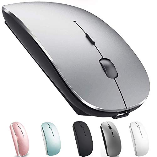 Rechargeable Bluetooth Mouse for Mac Laptop Bluetooth Mouse for MacBook Pro MacBook Air Chromebook MacBook iPad (Bluetooth Sliver Black)