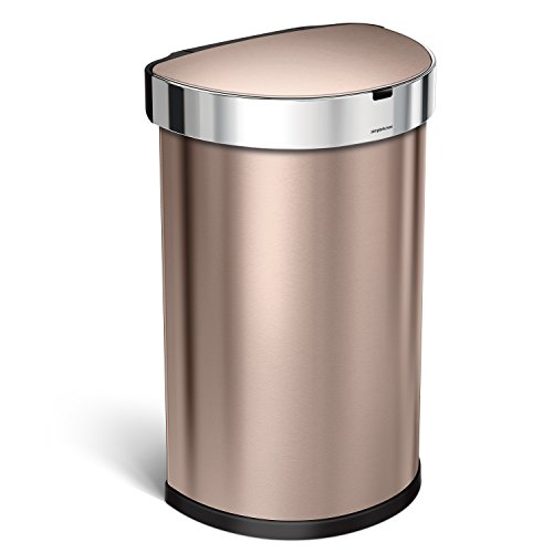 simplehuman 45 Liter / 12 Gallon Semi-Round Sensor Automatic Trash Can, Rose Gold Stainless Steel