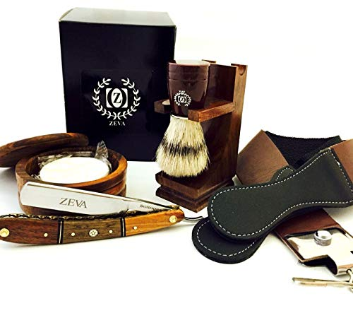 ZEVA Men's Best Wooden Straight Razor Shaving Set Kit in Gift Box