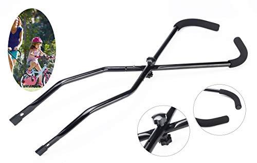 MOSHAY Kinderfahrrad Schiebe und Fahrrad Fahren Lernhilfe universale Schiebestange überall passend (Black)