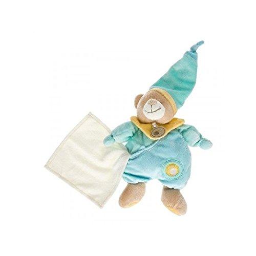 Babynat–Doudou Babynat oso Bear Pantin peto azul pañuelo gorro 26cms–3505