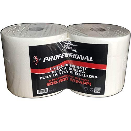 2 Rotoloni carta asciugatutto di alta qualità pura ovatta cellulosa 800+800 strappi superassorbente multiuso bobina carta officina
