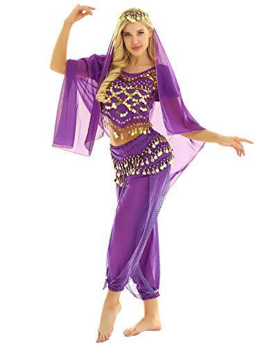 inhzoy Vestido Danza del Vientre para Mujer Disfraz de Princesa Árabe Traje de Baile India Lentejuelas Conjunto de Danza Oriental 4Pcs para Fiesta Actuación