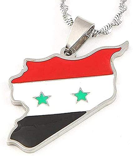 BEISUOSIBYW Co.,Ltd Collares Moda Esmalte de Acero Inoxidable Tarjeta de Siria Collares Pendientes Tarjeta de Color Plateado Cadena Siria joyería Regalos