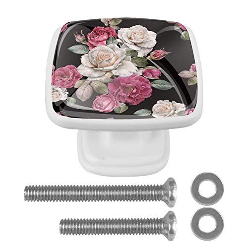 4 pomos de cristal para puerta de muebles, forma cuadrada, para armario, cajón, armario, armario, color negro, blanco, rosa