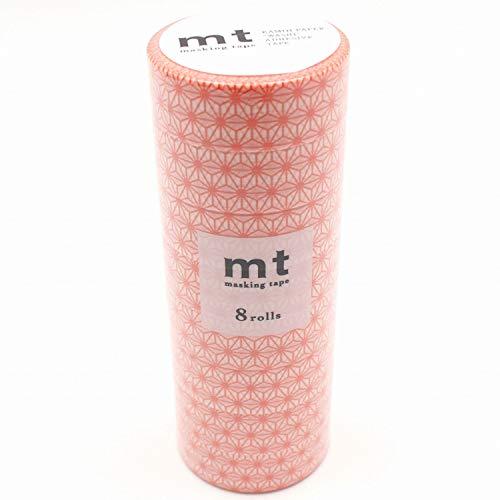 カモ井加工紙 マスキングテープ mt 8P 麻の葉・赤橙 幅15mm×7m 同色8巻パック MT08D470