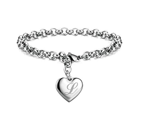 Initial Charm Bracelets Stainless Steel Heart Letters L Alphabet Bracelet for Women