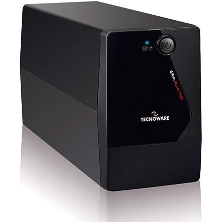 Tecnoware UPS ERA PLUS 750 Sistemas de Alimentación Ininterrumpida, 2 salidas Schuko, Autonomía hasta 10 min con 1 PC o 40 min con Modem Router, Potencia 750 VA, Negro, 10 x 28 x 14 cm