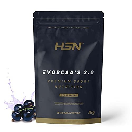BCAA con Glutamina de HSN Evobcaa's 2.0 | Aminoácidos Ramificados Ratio 12:1:1 Leucina + Valina + Isoleucina | Recuperador Muscular + Ganar Músculo | No-GMO, Vegano, Sin Gluten | Grosella | 1 Kg