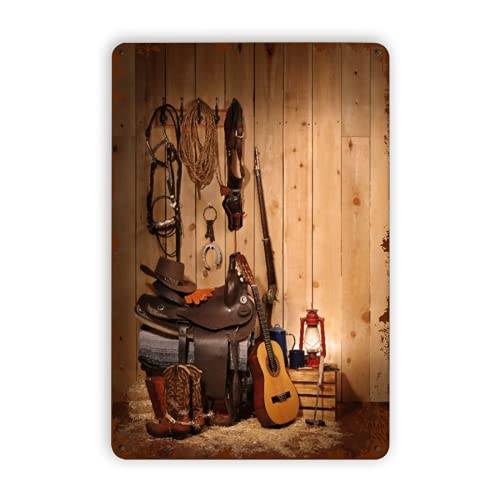CIKYOWAY Carteles de metal Decoración occidental Estilo americano de Texas Música country Guitarra Botas de vaquero Cultura popular de Estados Unidos, Cartel de chapa Pintura de hierro para pared Dec