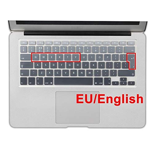 Soft Skin Protector, Euro Spanish English Russia water Dust proof keyboard cover for macbook Old air 13 protector change colors Retina 13 15 CD ROM Waterproof Dust-Proof (Color : EU English Grey)