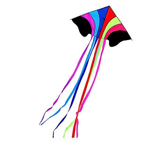 Jtoony Drachen 1.4m Regenbogen Outdoor Sports Fliegen Kite Tragbare Bunte weiche Flugspielzeug (Color : Multi-Colored, Size : One Size)