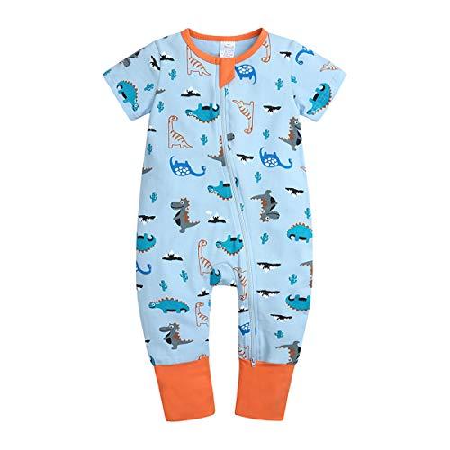 ZFTTZYMX Bebé Niñas Niños 1 Pieza Manga Corta Cremallera Pelele Bebé Algodón Mono Gráfico Pijama, Como se muestra en la imagen., 3-6 Meses